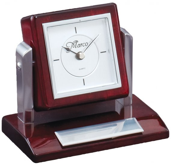 Tilting Rosewood Desk Clock - Click Image to Close